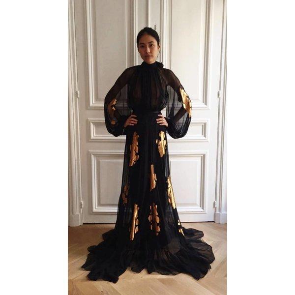 Djaba Diassamidze Mariana Gypsy Dress in Silk Mousseline with Gold Appliqué