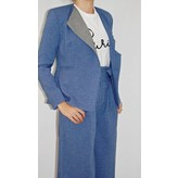 Tata Naka Jagged Edge Jacket in Blue with Prince of Wales Check
