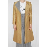 Tata Naka Tailored Coat in Metallic Gold with Prince of Wales Check Lapel