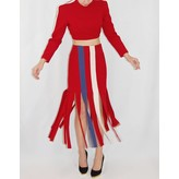 Tata Naka Ribbon Skirt in Burgundy with Blue and Cream Stripes
