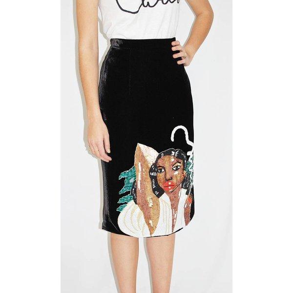 Tata Naka Fitted Velvet Skirt in Black with Sequined Diana Ross Motif