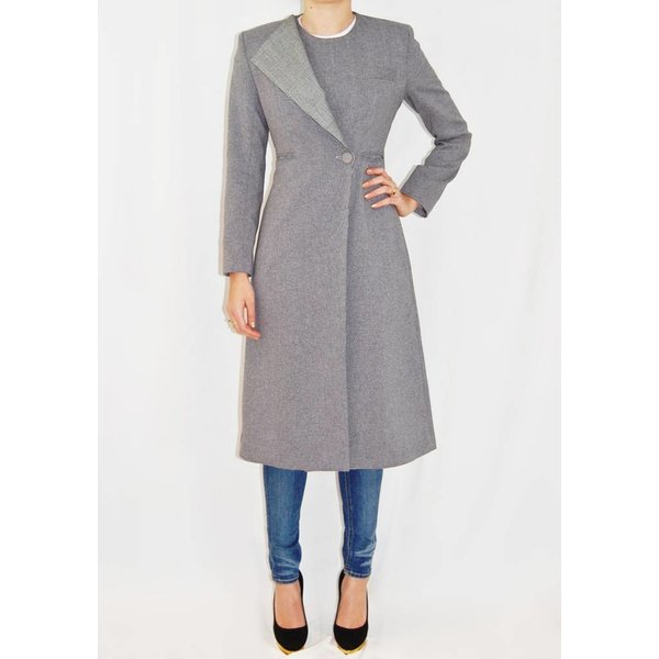 Tata Naka Tailored Coat in Grey with Prince of Wales Check Lapel
