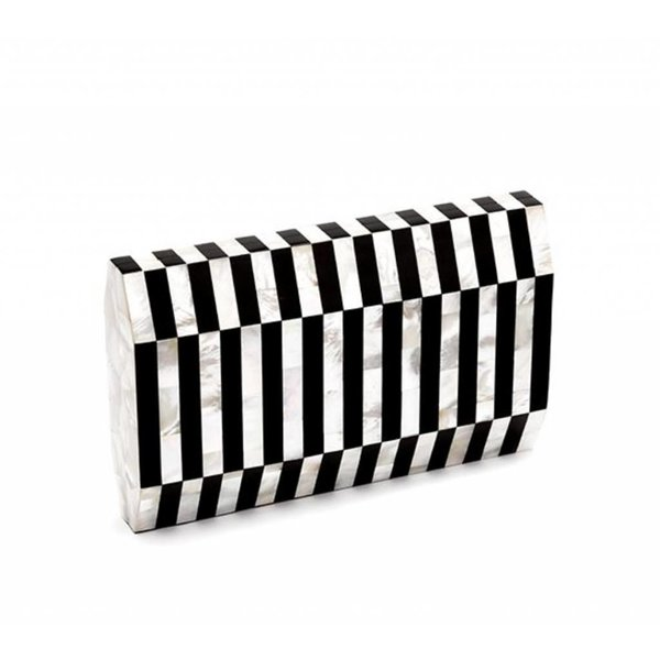 Nathalie Trad Gustave Clutch in Mother of Pearl Shell and Black Tab Polish Shell