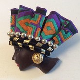 African Lady with Headdress Brooch