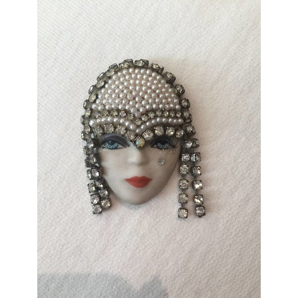 Elvira & Jackie Rhinestone and Pearl Headdress Brooch