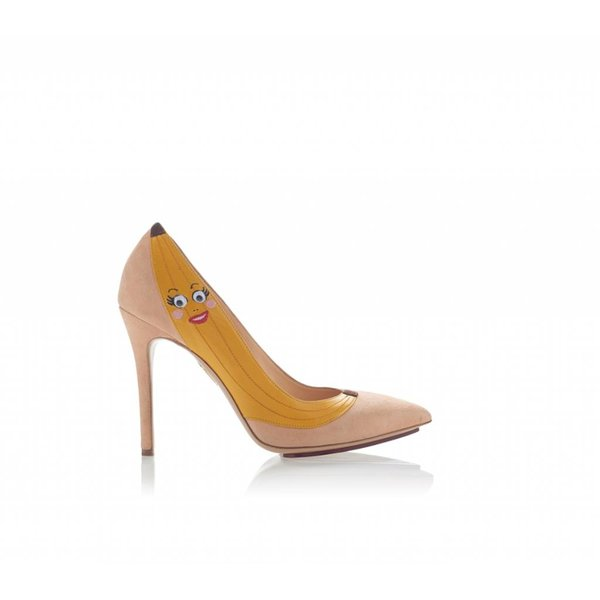 Charlotte Olympia Chiquita Suede Pump with Banana Applique