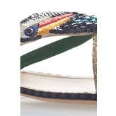 Charlotte Olympia Toucano Flat Sandal with Sequin Embroidery