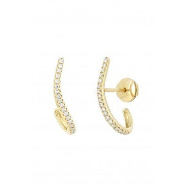 """Yvonne Leon """"Line"""" Diamond Earring in 18kt Yellow Gold"""