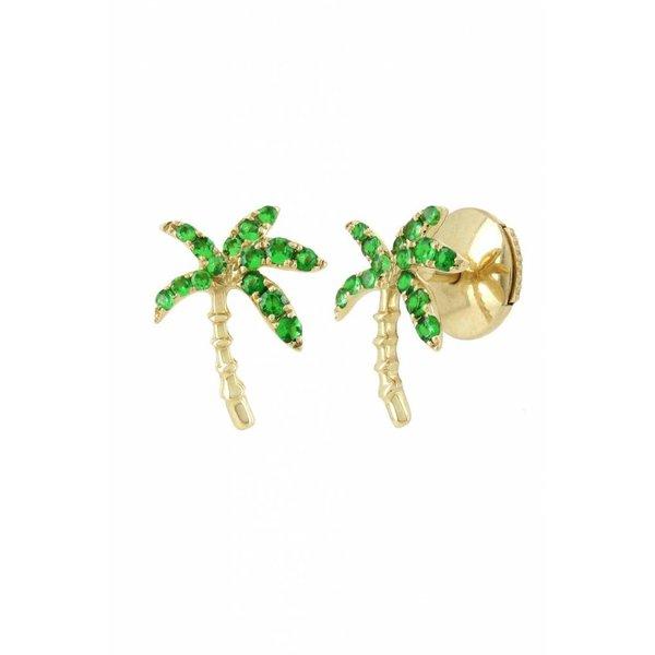 "Yvonne Leon ""Palm History"" Sapphire Earring in 18kt Yellow Gold"