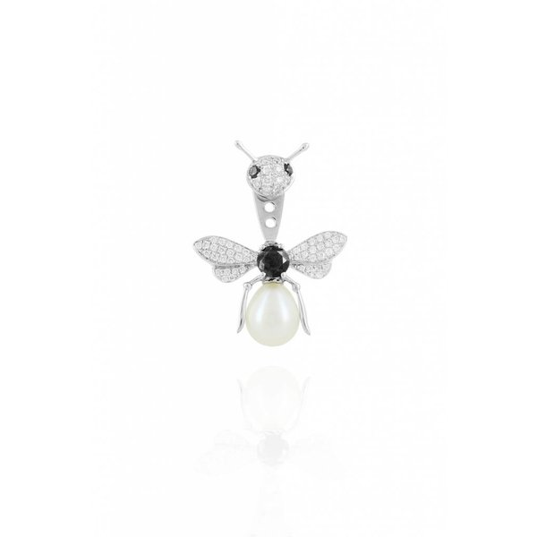"""Yvonne Leon """"Bee"""" Black & White Diamonds and Pearl Earring in 18kt White Gold"""