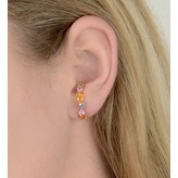 "Yvonne Leon ""Rainbow Of Oreille"" Multi Color Sapphires Earring in 18kt Yellow Gold"