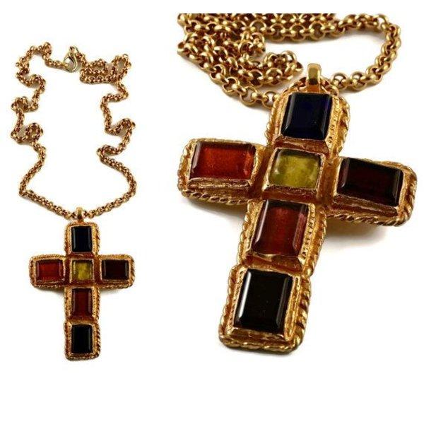Vintage Vault Vintage Christian Lacroix Colored Glass Cubes Cross Necklace