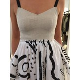 Isa Arfen Handkerchief Bustier Dress in Natural with White and Black Print