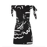 Isa Arfen Off Shoulder Knot Dress in Black with White Print