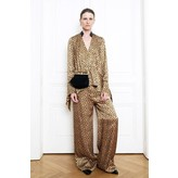 Petar Petrov Wide Printed Dot Silk Satin Trousers in Sand/Black Print