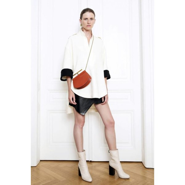 Petar Petrov Oversized Cotton Blouse with Contrast Cuffs in Off White/Black