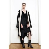 Petar Petrov Roundneck Striped Heavy Jersey Coat with Leather Cuffs and Belt