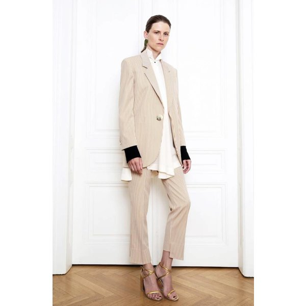 Petar Petrov Tailored Slim Fit Trousers with Shorted Back in Striped Gold/Ivory
