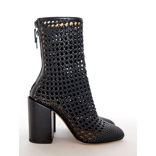 Petar Petrov Hand-Braided Boots in Black Lambskin