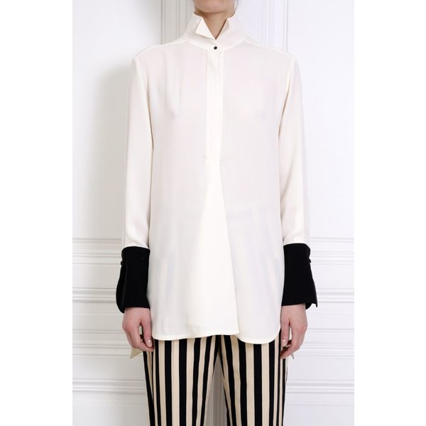 Petar Petrov Crepe White Blouse with Wingtip Collar and Black Contrast Cuff