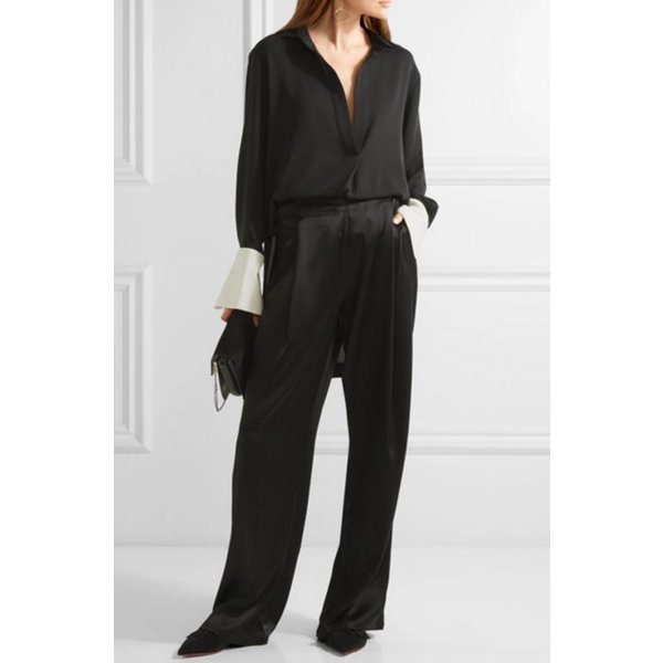 Petar Petrov Crepe Blouse in Black with Wingtip Collar and Contrast White Cuff