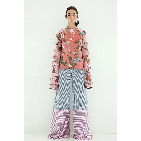 Taller Marmo Saira Trousers in Pink and Blue Stripe