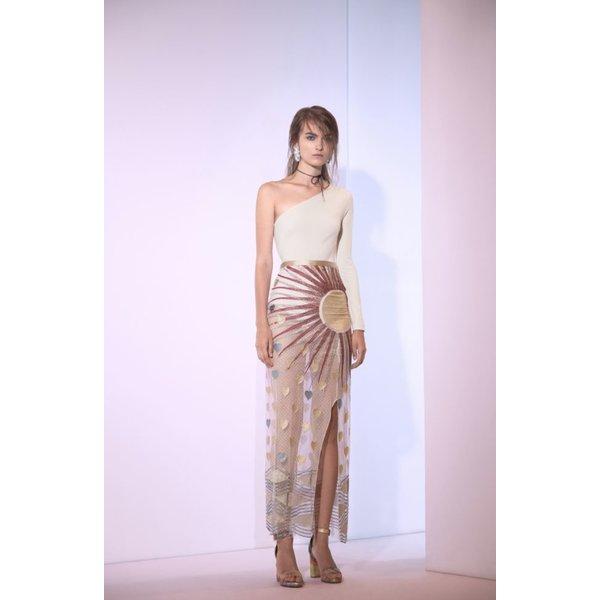 Sandra Mansour Lune Etoile Lycra One Sleeve Bodysuit