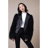 Charlotte Simone Biker Bomber Jacket with Fur Sleeves