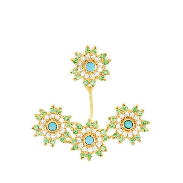 "Yvonne Leon ""Three Flowers"" Tsavorite, Turquoise & Diamond Earring in 18kt Yellow Gold"