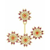 "Yvonne Leon ""Three Flowers"" Ruby, Coral & Diamond Earring in 18kt Yellow Gold"