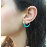 """Yvonne Leon """"Escargot"""" Turquoise Earring in 18kt Yellow Gold"""