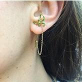 """Yvonne Leon """"Sword"""" Tsavorite Earring in 18kt Yellow Gold"""