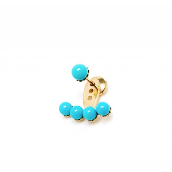 """Yvonne Leon """"Dessous d'Oreille 4 PM"""" Turquoise Earlobe Earring in 18kt Yellow Gold"""