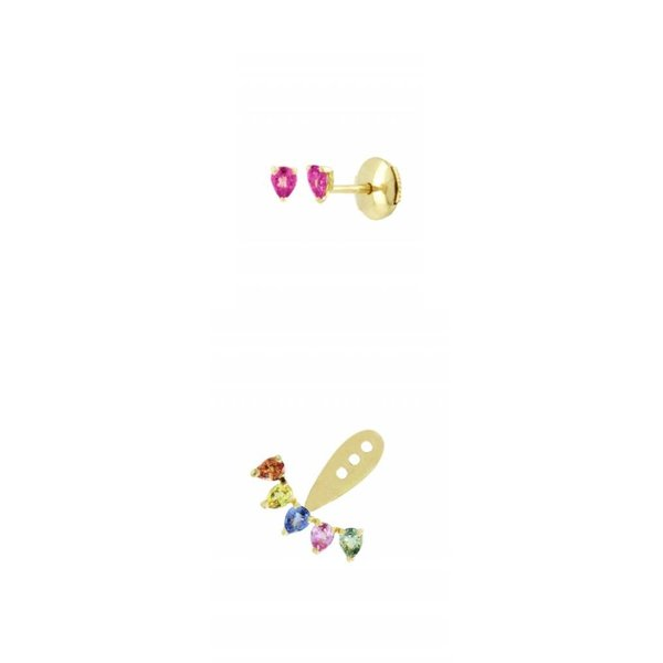 "Yvonne Leon ""Dessous d'Oreille 5 Rainbow"" Earlobe Earring in 18K Yellow Gold with Multicolor Sapphires"