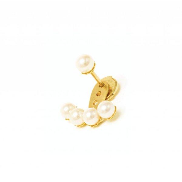 """Yvonne Leon Yvonne """"Dessous d'Oreille 4 Perle"""" Pearl Earlobe Earring in 18K Yellow Gold"""