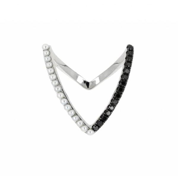 "Yvonne Leon ""Viviane"" Bicolor Ring - Black Diamonds, White Pearls and 18K White Gold"