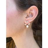 """Yvonne Leon """"Bee"""" Ruby & White Diamonds & Pearl Earring in 18kt Yellow Gold"""