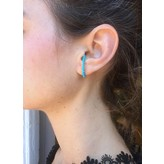 """Yvonne Leon """"Creole"""" Turquoise Earring in 18K Yellow Gold"""