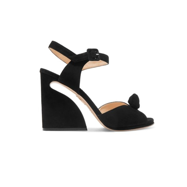 Charlotte Olympia Vega Suede Heeled Sandals with Top Knot