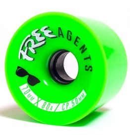 Free Wheels Free- Agents- Green- 70mm- 80a- Wheels