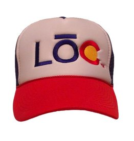 LOC- PBR- White Foam, Blue Mesh and Red Brim- Snap Back Trucker- Hat- 2014