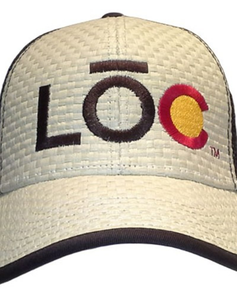 LOC- The Tweeter- Straw with Blue Mesh- Snap Back- Hat- 2014