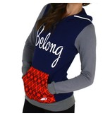 Belong Designs Belong- Women's Retro Flannel Raglan- Red, Navy, and Grey- Hoodie