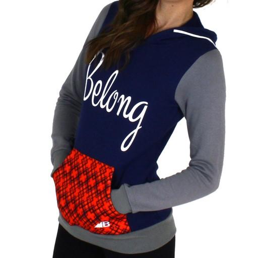 Belong Designs Belong- Women's Retro Flannel Raglan- Red, Navy, and Grey- Hoodie