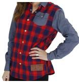 Belong Designs Belong- Women's Mountain Raglan Flannel- Red and Blue