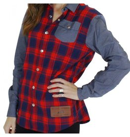 Belong Designs Belong- Women's Mountain Raglan Flannel- Red and Blue
