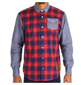 Belong Designs Belong- Mountain Raglan Flannel- Red and Blue