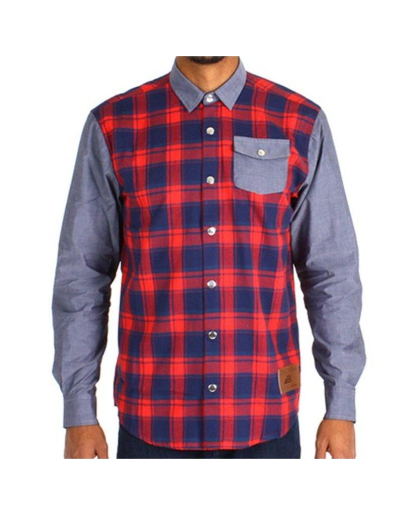 Belong Designs Belong- Mountain Raglan Flannel- Red and Blue