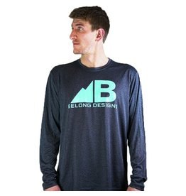 Belong Designs Belong- Tech Logo- Heather Grey with Teal Letters- Long Sleeve