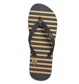 Reef Reef- Switchfoot Prints- Men's Flip Flop- Black, Gold, and Stripe